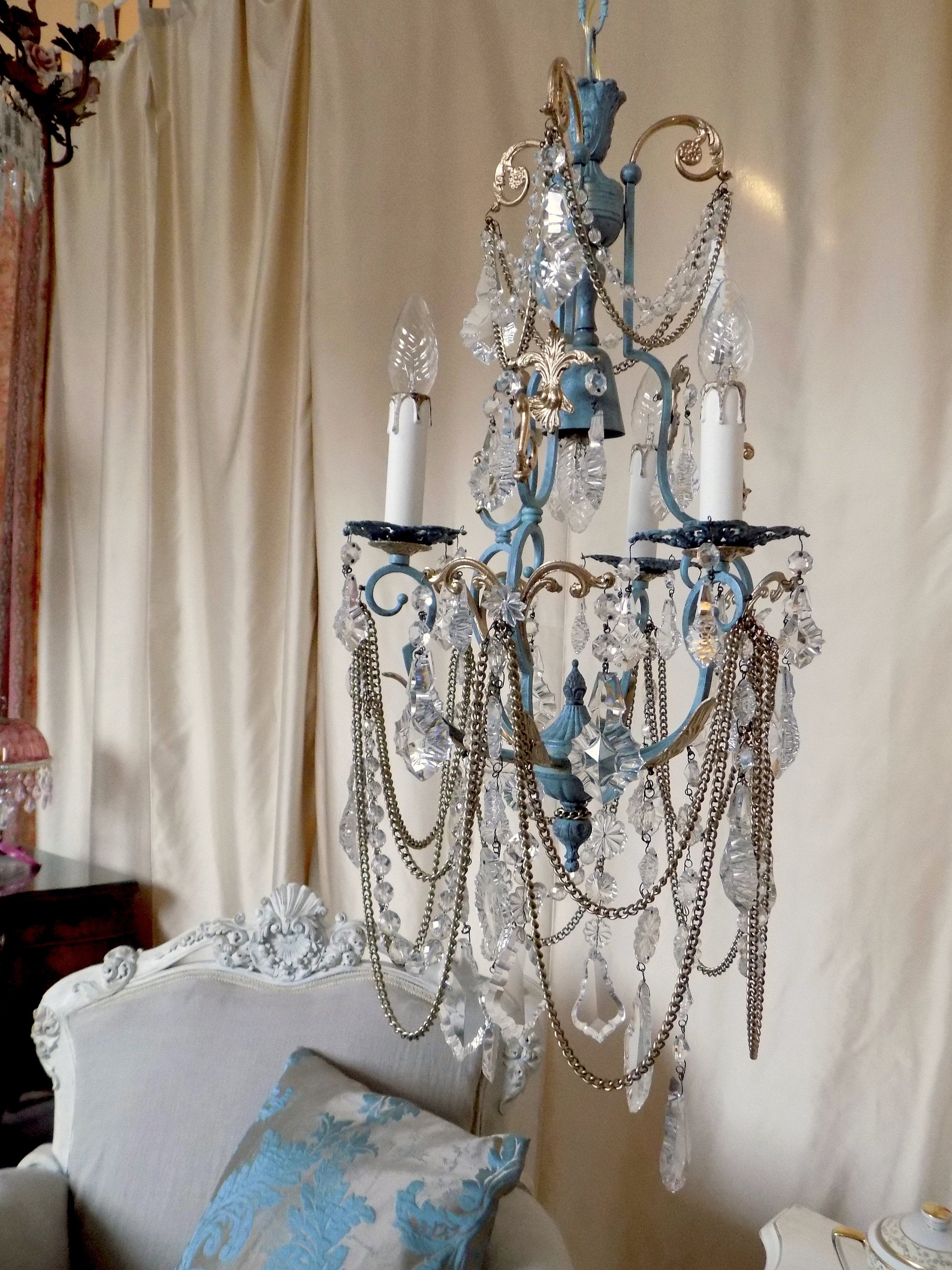 Luxury antique style chandelier robin egg blue and gold