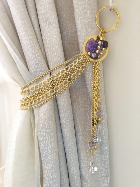Amethyst and golden chains tieback