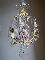 ITALIAN VINTAGE TOLE CHANDELIER WITH PORCELAIN FLOWERS