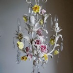 ITALIAN VINTAGE TOLE CHANDELIER WITH PORCELAIN FLOWERS