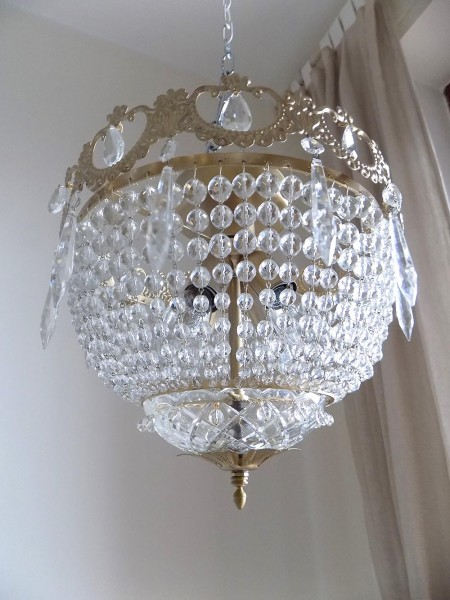 Gold flush mount with Bohemian Crystals Empire Style