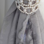 Romantic faux pearls double strand tiebacks