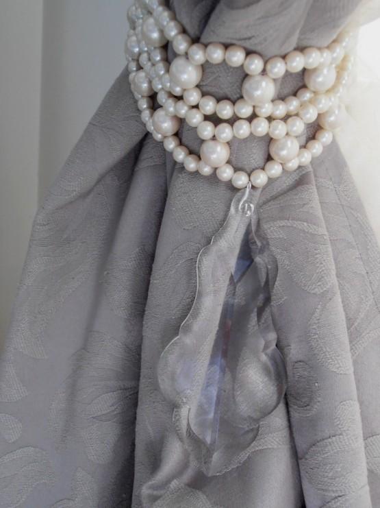 Romantic faux pearls double strand tiebacks
