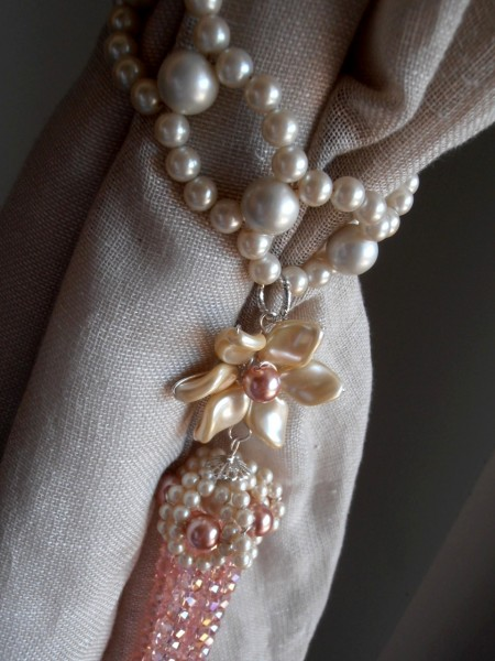 Pink tieback pearls and flowers