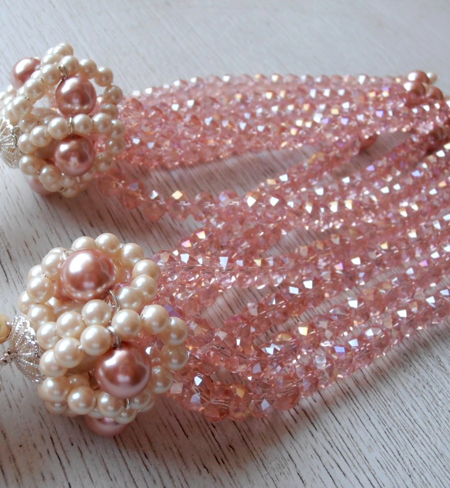 Rare and Unique Glass Curtain Tie Backs Pink