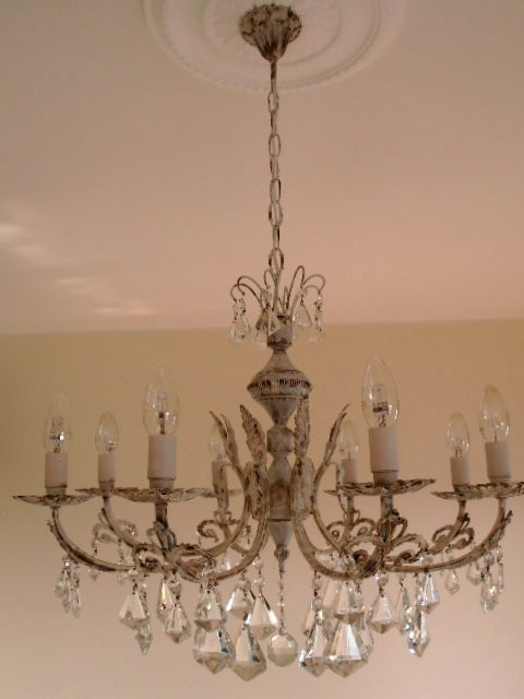 Italian worn look ivory chandelier with glass drops