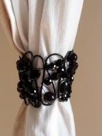 Bohemian black crystals Tieback