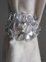 Silver woven tiebacks