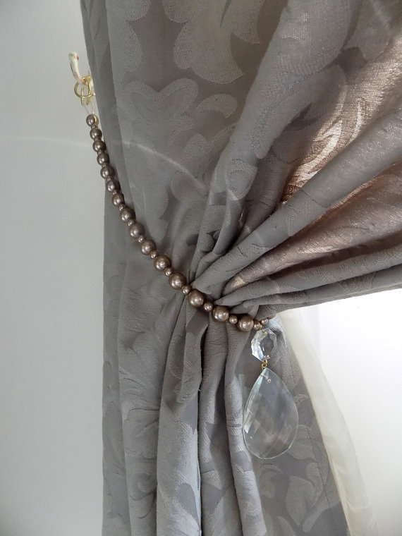 Champagne brown curtain tieback glass faux pearls, glass drops