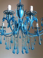 vintage chandelier 10 arms with turquoise Murano drops