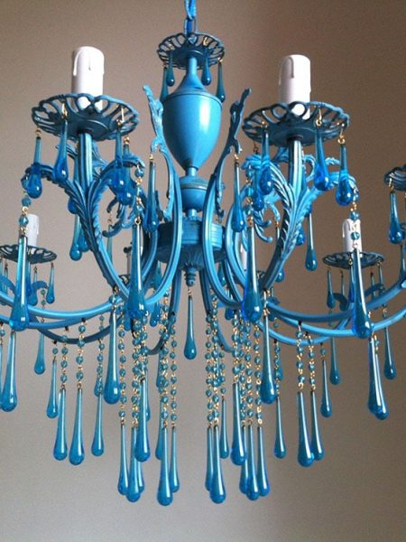 Aqua vintage chandelier 10 arms with turquoise Murano drops