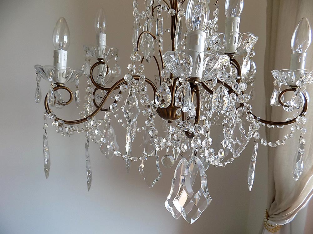 Italian vintage 9 arms chandelier with rare-shaped crystals ...