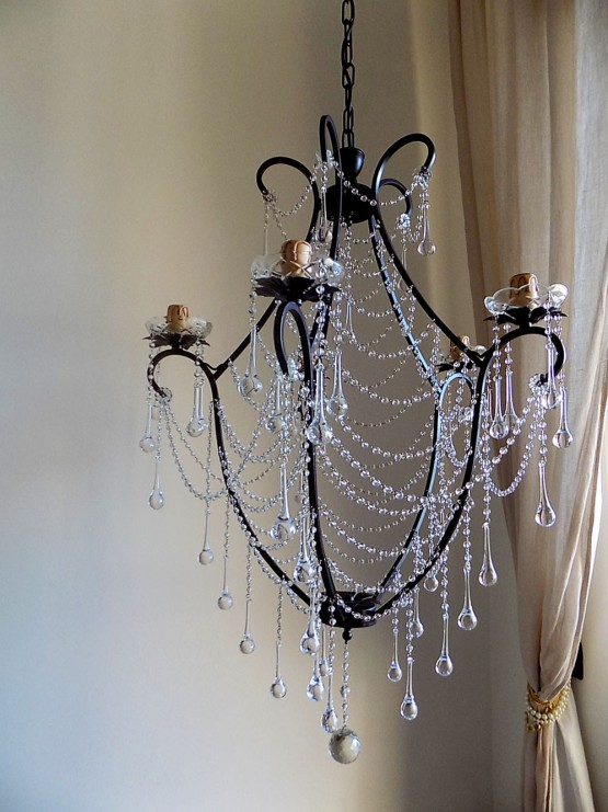 Birdcage crystal chandelier, clear Murano glass crystals, drops and chains