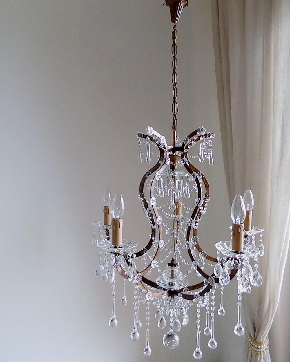 Vintage Birdcage Chandelier Murano Glass And Swags