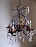Rare 1940 French vintage gilded chandelier crystal 10 lights