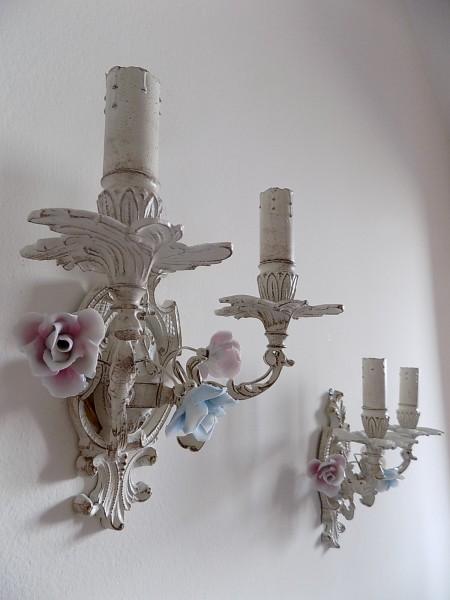 Porcelain flowers ivory sconces