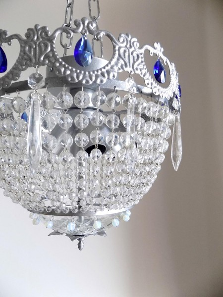 Silver flush mount with Bohemian Crystals Empire Style