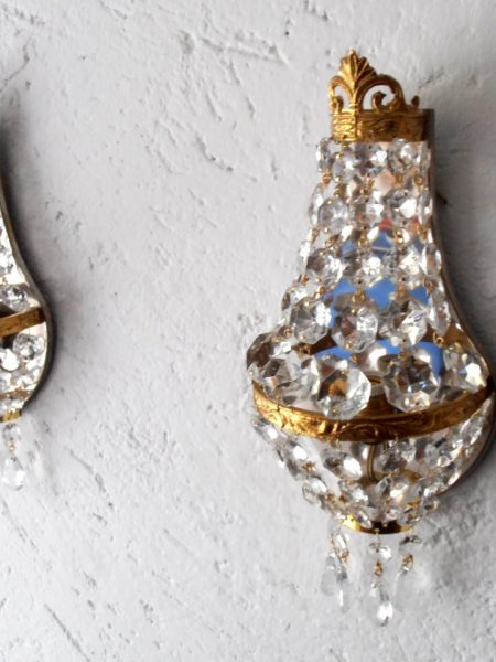 Empire style gilded sconces with crystals