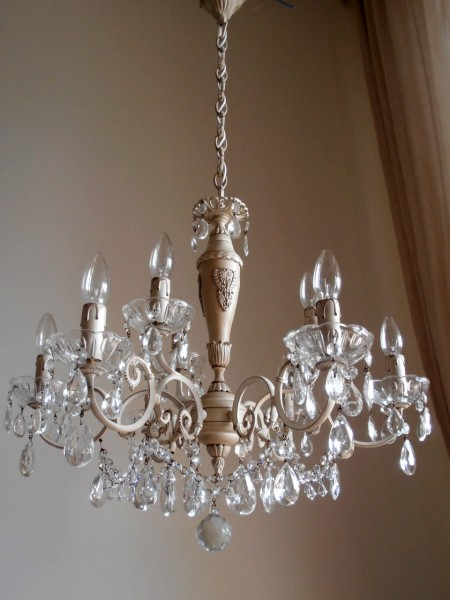 Vintage Italian 9 arms chandelier Asfour crystal swags