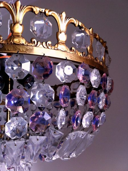 Exclusive empire style gold flush mount, Bohemian crystals