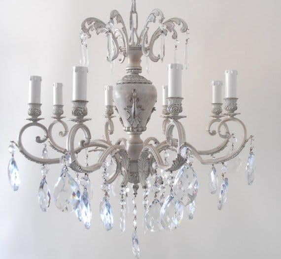 MILANO 8 arms ivory brass chandelier with glass crystals