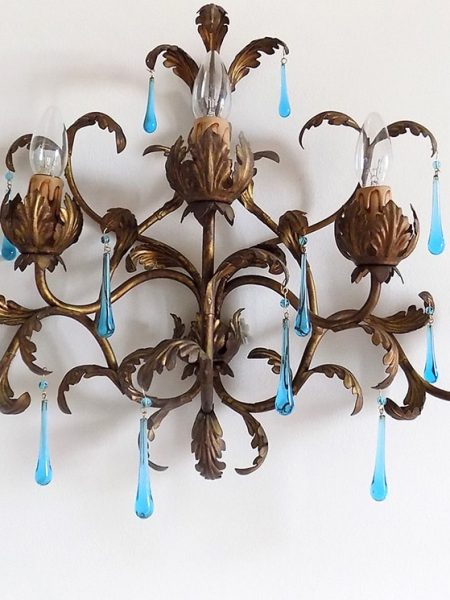 Large Italian tole gilded sconce, clear blue Murano drops