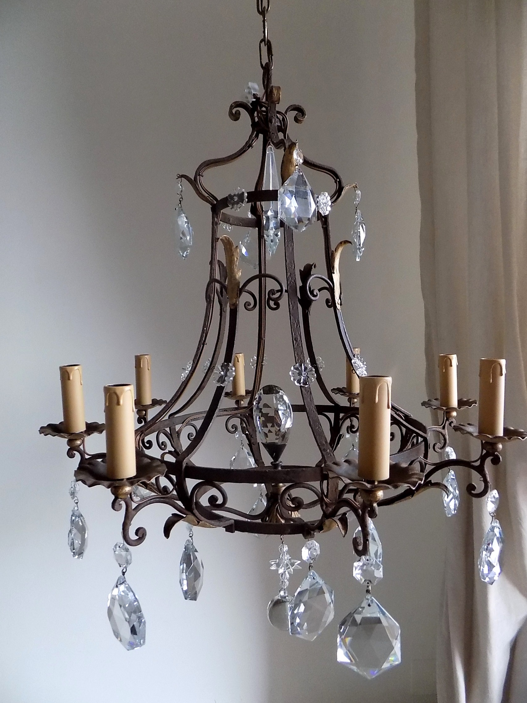 Antique French Massive Hand Forged Wrought Iron Chandelier