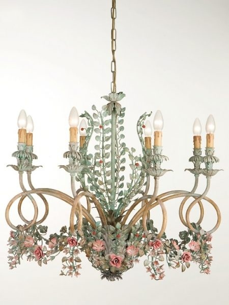 Italian wrought iron crystal chandelier with flowers