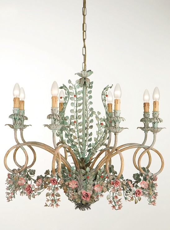 Mary wrought iron crystal chandelier with flowers