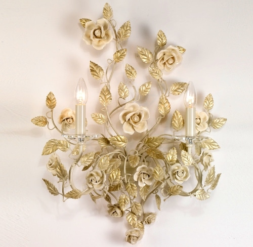 Italian wrought iron ivory sconce with ceramic roses