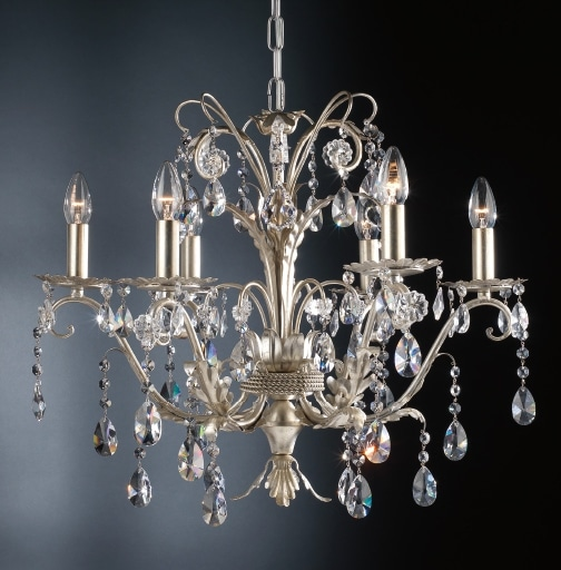 Italian 6 arms wrought iron silver blossom crystal chandelier