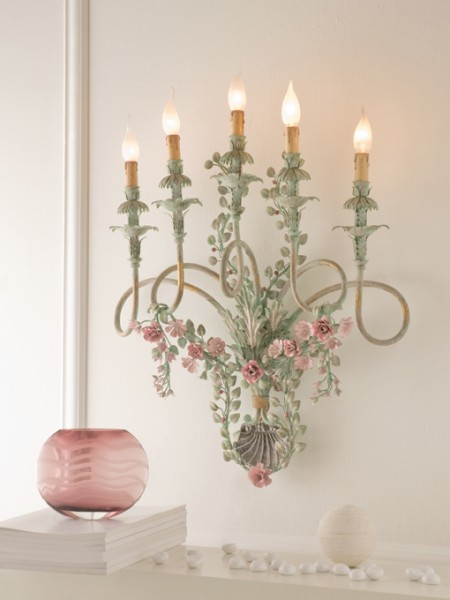 Hand forged Italian wrought Iron floral sconce 5 lights