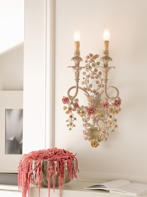 Hand forged Italian wrought Iron floral sconce 2 lights