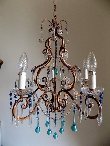 Florence vintage wrought iron birdcage crystal chandelier, Murano drops