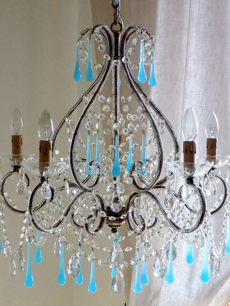 Florence wrought iron Murano blue opaline chandelier Macaroni beads