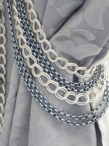 Silver chain tiebacks jewel
