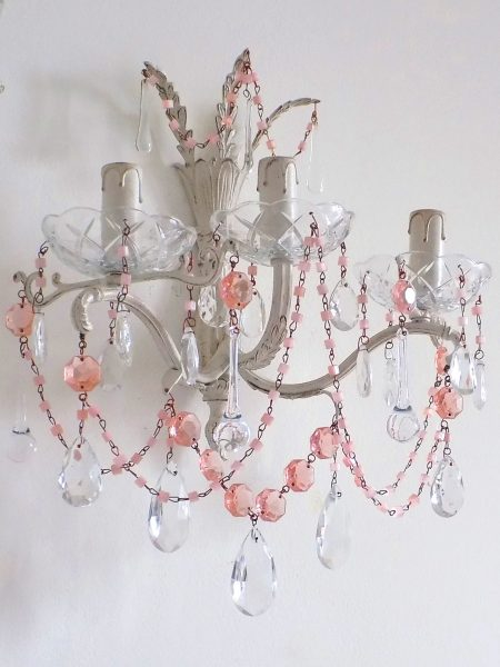 ivory sconce pink crystals