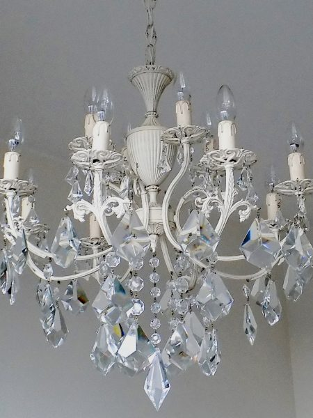 Shabby chic ivory chandelier 12 lights