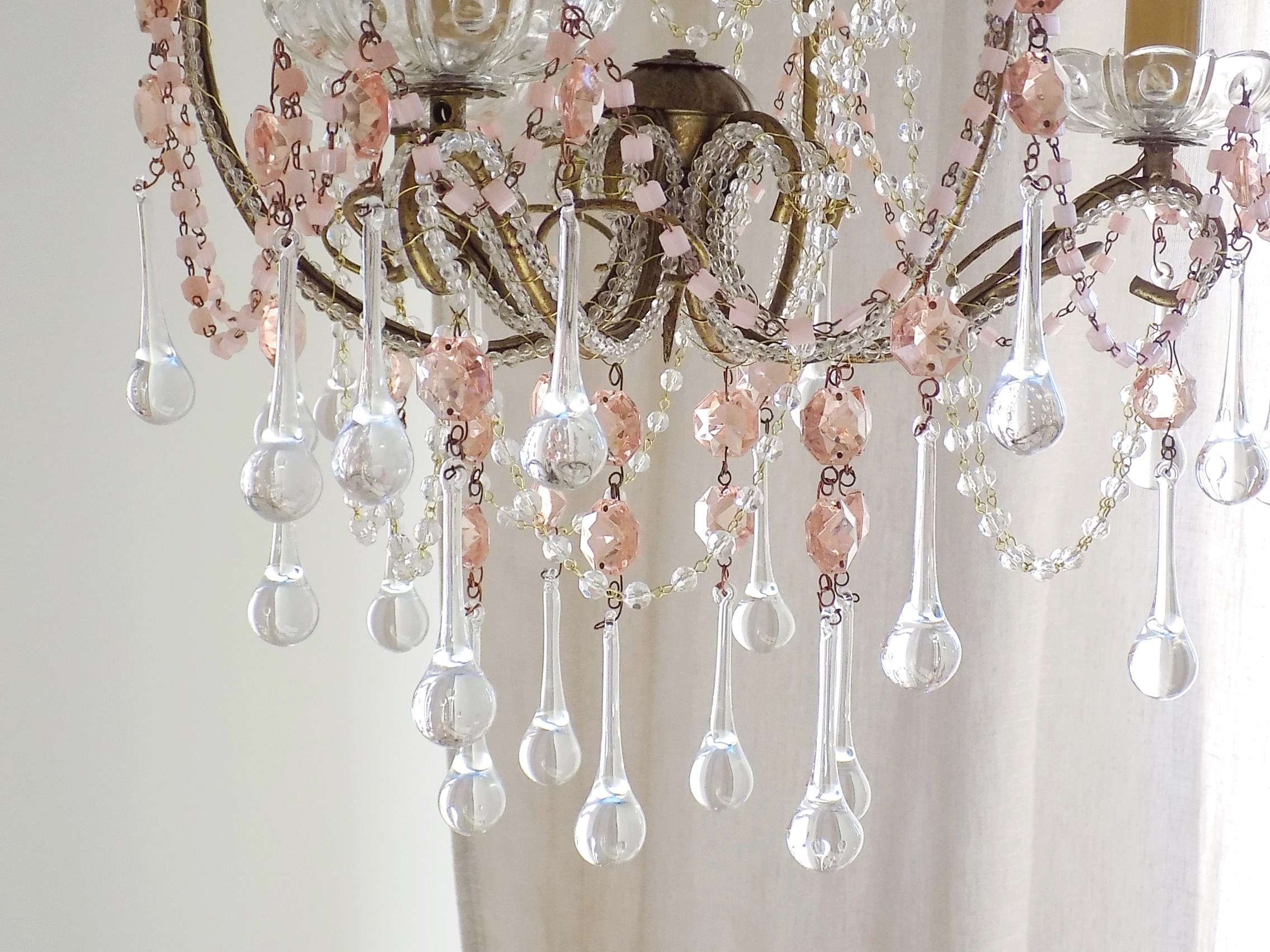Venetian vintage macaroni beads crystal chandelier lorella dia - Chandelier glass beads ...