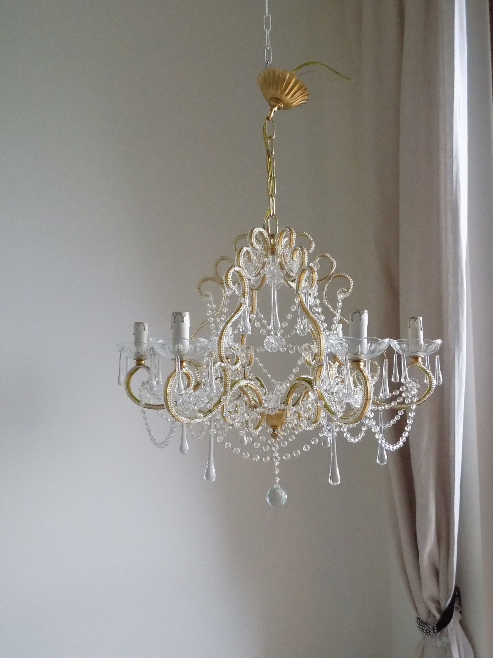 Beaded crystal birdcage chandelier gold leaf