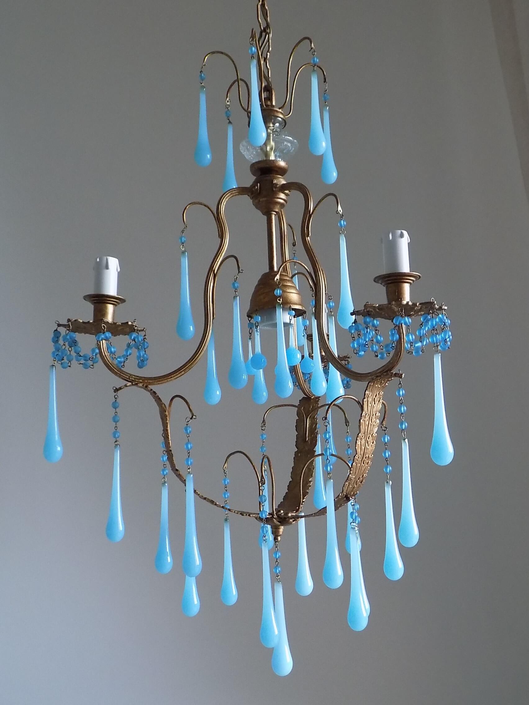 Murano blue opaline drops chandelier