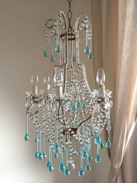 clear blue Murano drops chandelier