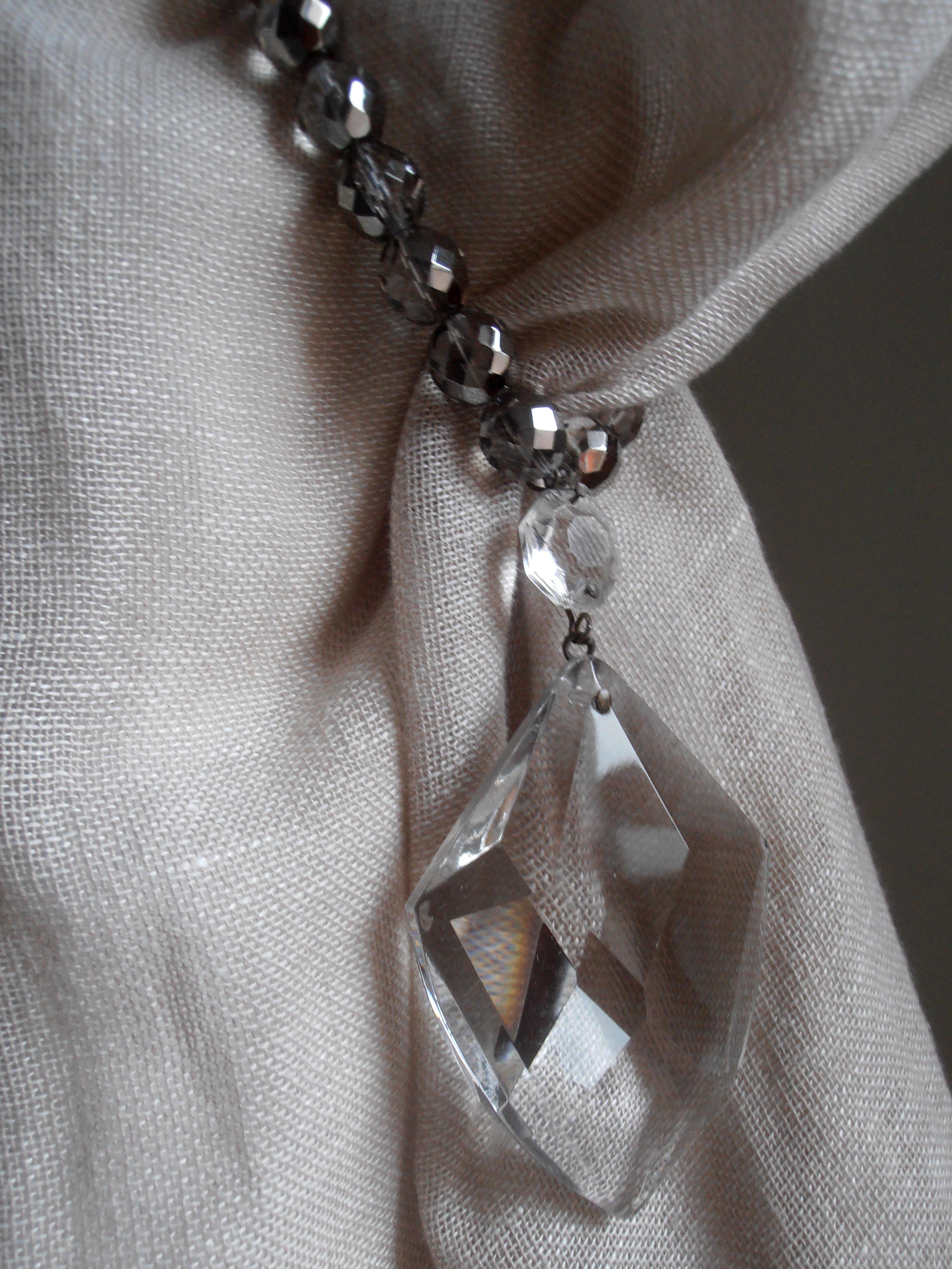 Silver crystals tiebacks with Italian glass drop - 6 pieces