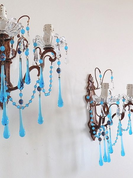 Blue Murano glass and Venetian beads sconces