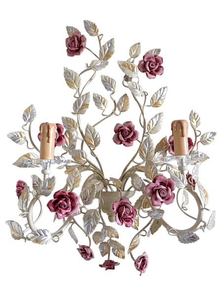 Italian sconce with pink ceramic roses