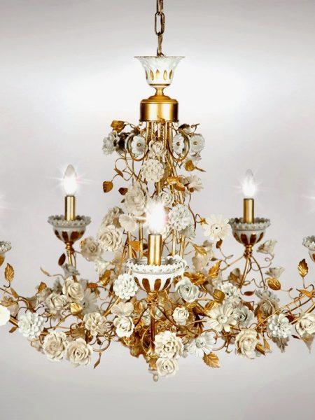porcelain roses chandelier 5 lights