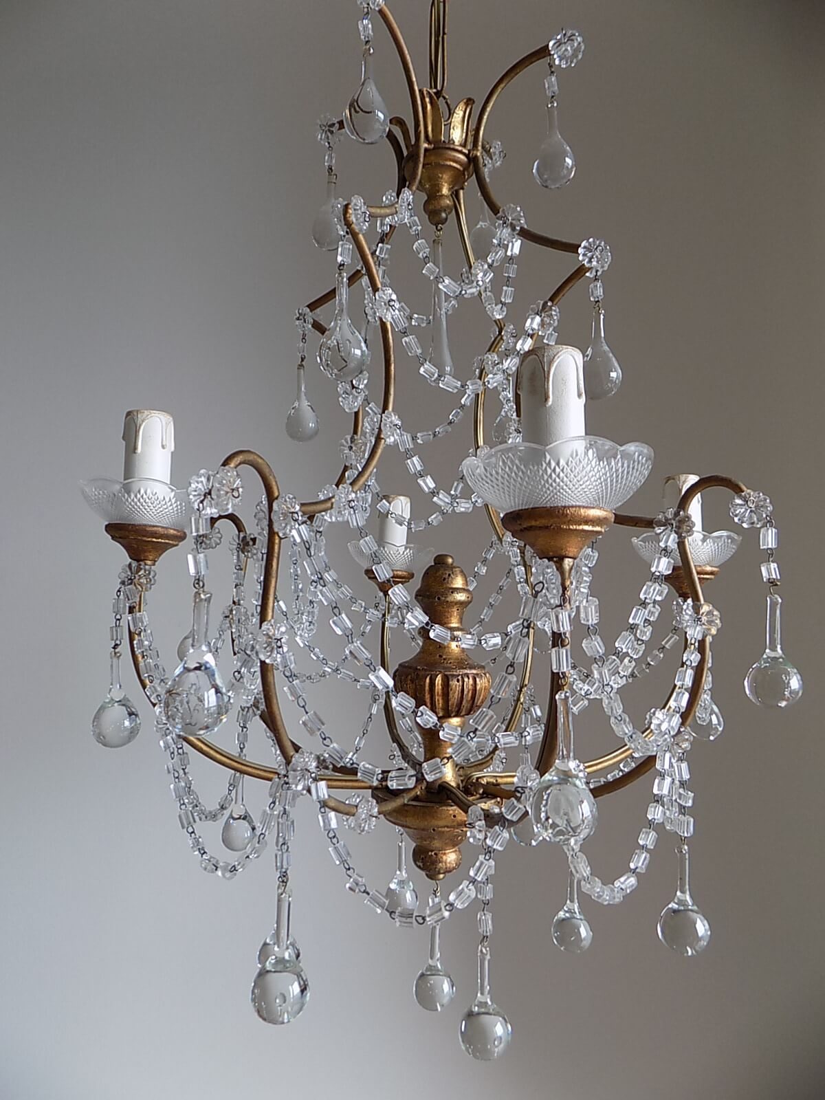 1920 italian crystal chandelier with gilded wood center body lightbox aloadofball Image collections