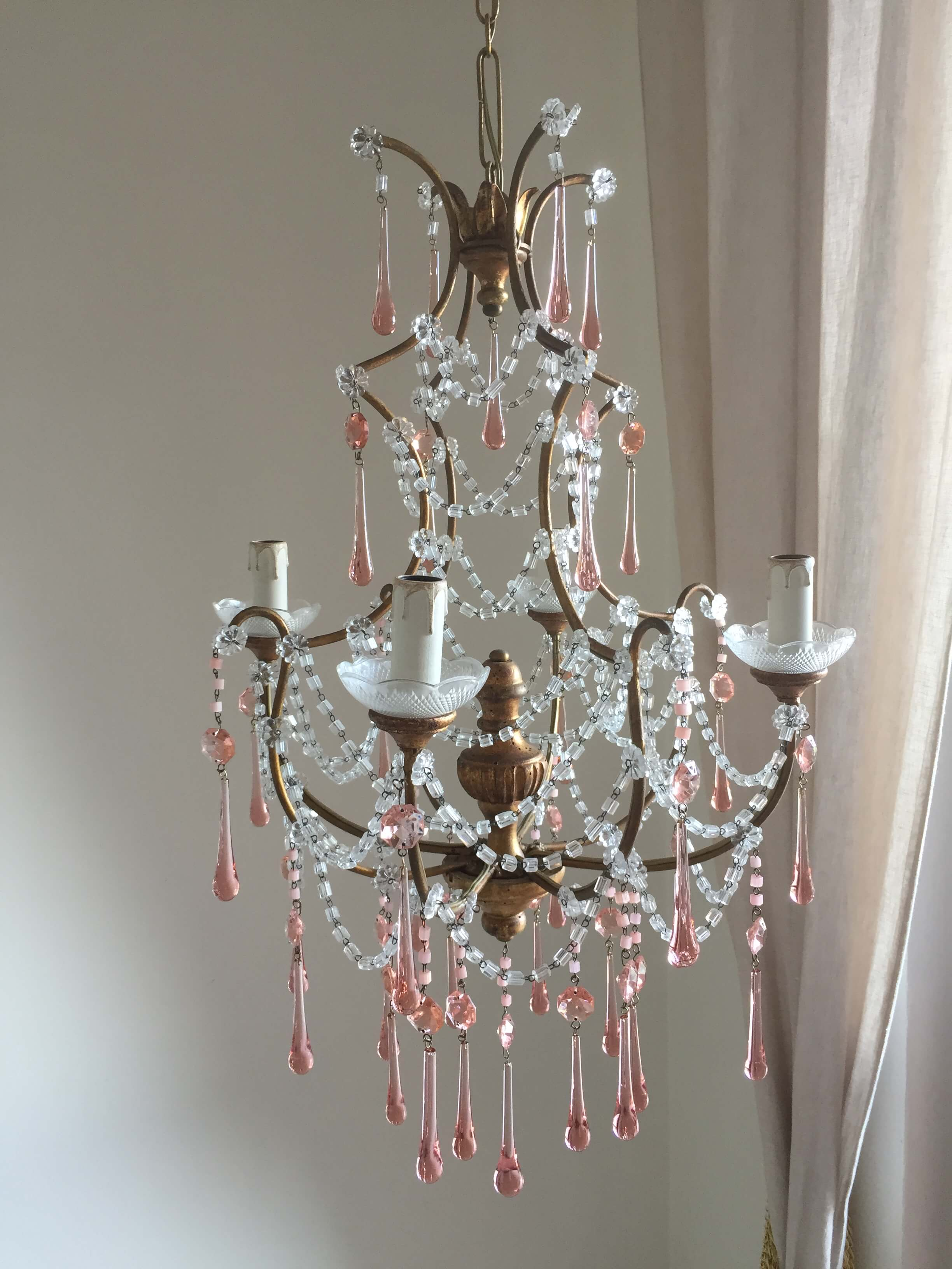 reserved for R. 1920 Italian crystal chandelier with gilded wood center body