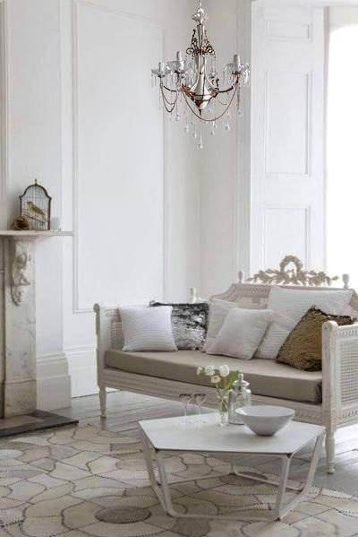 ivory chandelier with bronze chains