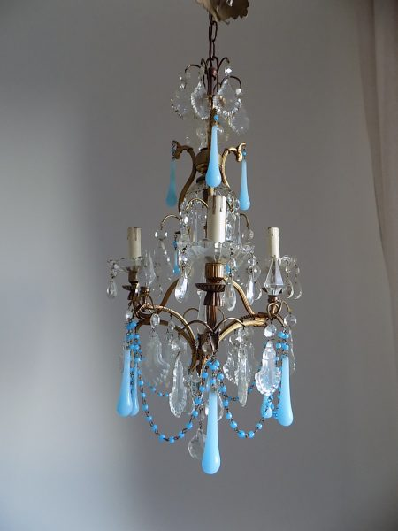 blue opaline drops chandelier